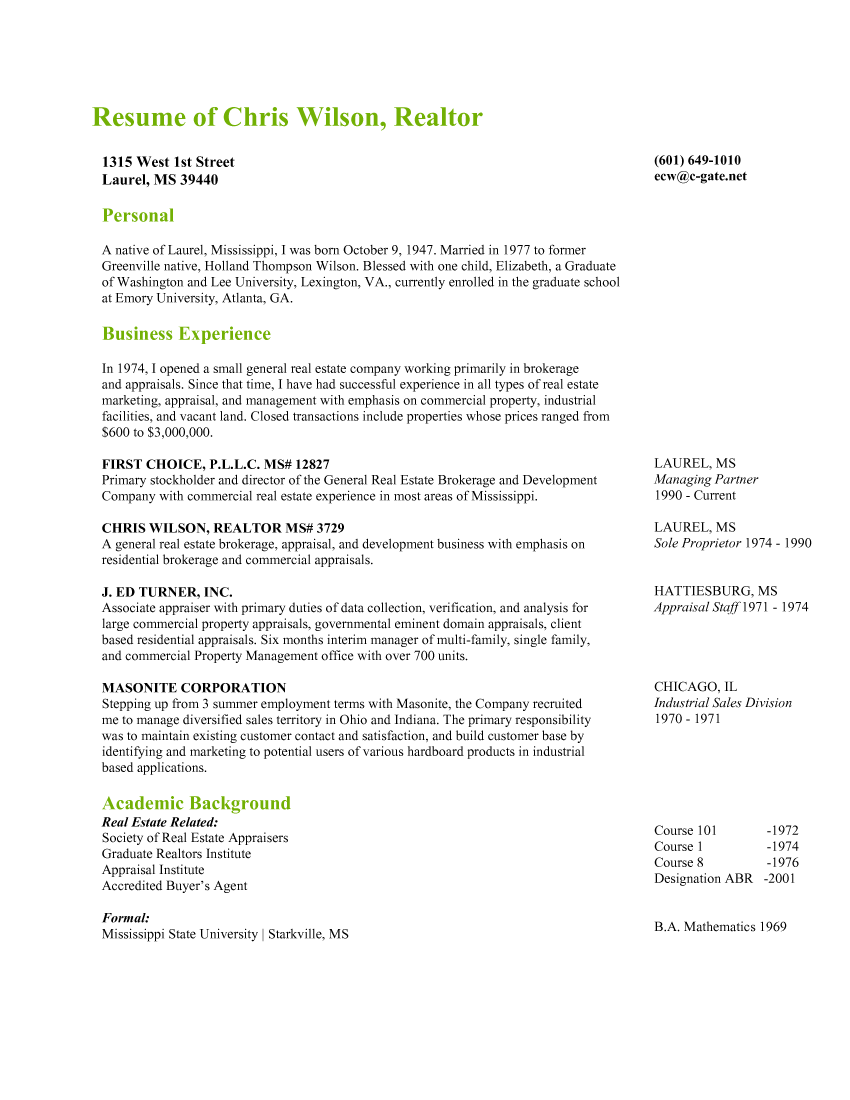 Resume Resume Of Real Estate Agent chris wilson realtor first choice pllc laurel mississippi resume